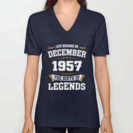 December 1957 61 the birth of Legends Unisex V-Neck