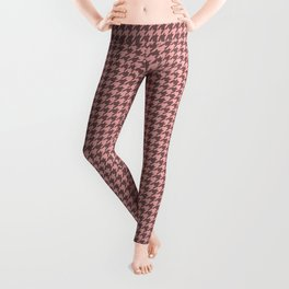 Blush Pink and Grey Hounds tooth Check Leggings