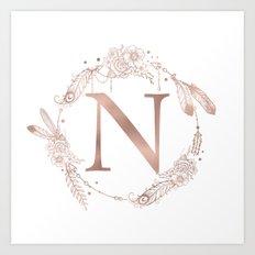 Letter N Rose Gold Pink Initial Monogram Art Print