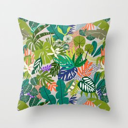 Simple drawing of abstract jungle Throw Pillow