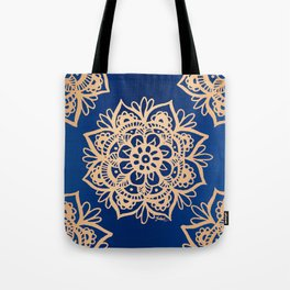 Blue and Gold Mandala Tote Bag