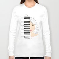 piano Long Sleeve T-shirts featuring Piano by Lluna Llunera
