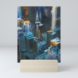 Gilded Digital Cityscape Mini Art Print