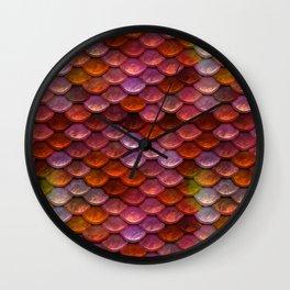 Mermaid Pattern In Red Tones Wall Clock