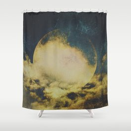 Golden moon Shower Curtain