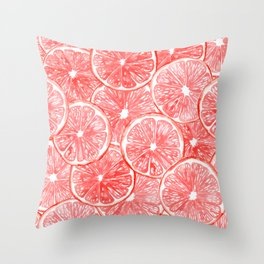 Watercolor grapefruit slices pattern Throw Pillow