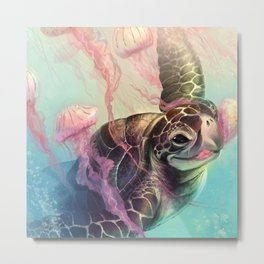 Sea Turtle and Jellyfish! Metal Print