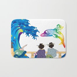 Hokusai People seeing Big Wave & the Angel riding a dolphin Bath Mat