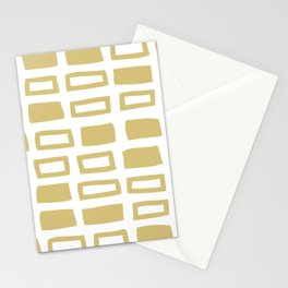 Mid Century Modern Abstract Squares Pattern 442 Gold Stationery Cards