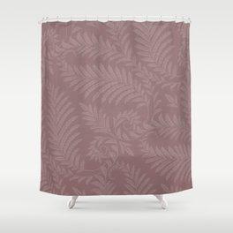 Pantone Red Pear Fancy Leaves Scroll Damask Pattern Shower Curtain