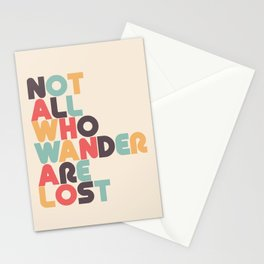 Not All Who Wander Are Lost Typography - Retro Rainbow Stationery Cards