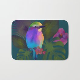 Tropical bird and exotic flowers summer painting Bath Mat