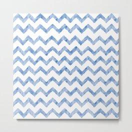 Chevron Light Blue And White Metal Print