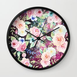 Blush pink watercolor elegant roses floral nebula Wall Clock