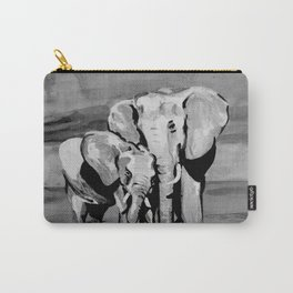 Black and white mother and baby elephant Carry-All Pouch