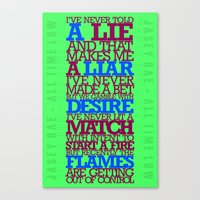 lyrics Canvas Prints featuring Lyrics by lynneataylor