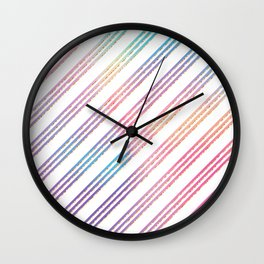 Abstract pink teal purple gradient stripes pattern Wall Clock