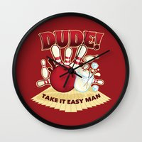 the dude Wall Clocks featuring Dude! by Stationjack