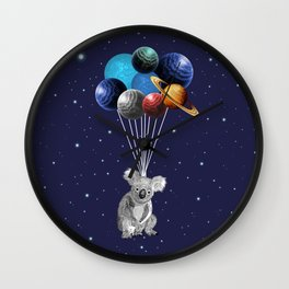 Koala Space Celebration Wall Clock