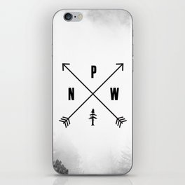 PNW Pacific Northwest Compass - Black and White Forest iPhone Skin