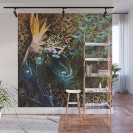 Exotic Leopard Peacock Feather Animal Print Floral Wall Mural
