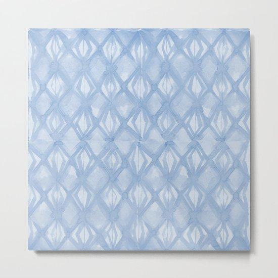 Braided Diamond Sky Blue on Lunar Gray Metal Print