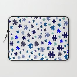 Jigsaw pieces of bluish colors. Laptop Sleeve