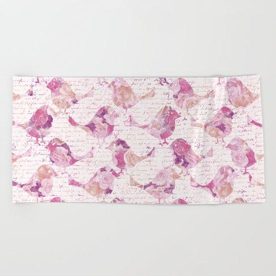 Vintage Flower Birds and handwriting pattern Beach Towel