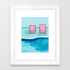 Vay-K - abstract memphis throwback poolside swim team palm springs vacation socal pool hang  Framed Art Print