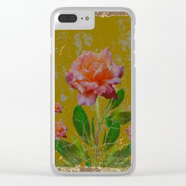 ANTIQUE AVOCADO COLOR  CORAL  PINK ROSES BOTANICAL ART Clear iPhone Case