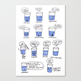 half a glass of water Canvas Print