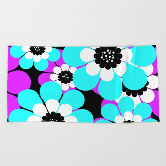 The floral pattern . Purple and turquoise flowers on a black background . Beach Towel