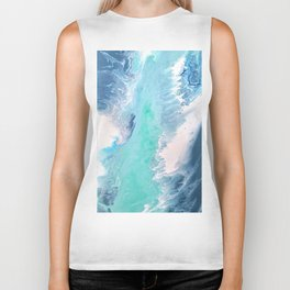 Blue Fluid Painting Waves Fluid Acrylic Abstract Biker Tank