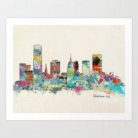 oklahoma Art Prints featuring Oklahoma City Oklahoma skyline by bri.buckley