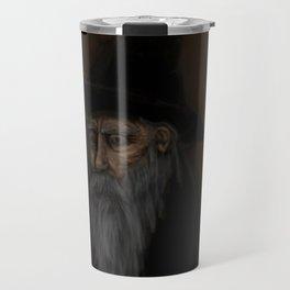 Dark Wizard portrait framed, black background Travel Mug