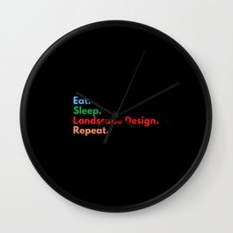 Eat. Sleep. Landscape Design. Repeat. Wall Clock