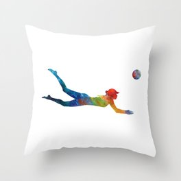 Woman beach volley ball player 01 in watercolor Throw Pillow
