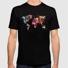 Map of the world colored geometric MEDIUM Black Mens Fitted Tee