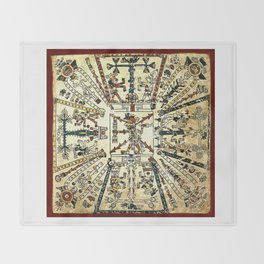 Aztec Collection: God Xiuhtecuhtli Throw Blanket