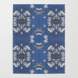 Star-filled sky (Star Magnolia flowers!) - diamond repeating pattern Poster