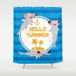 Hello Summer. Kawaii hammerhead shark Shower Curtain
