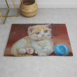 Little kitten playing with ball Cute red tabby cat portrait Oil painting on canvas Rug