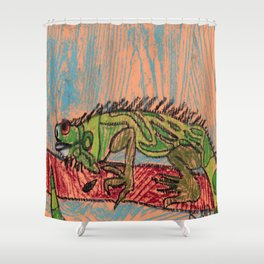 Green Iguana Shower Curtain