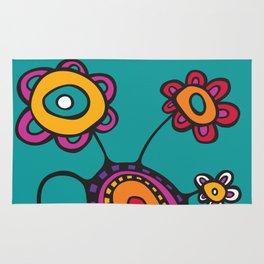 Flower Pot in Color on Teal Rug