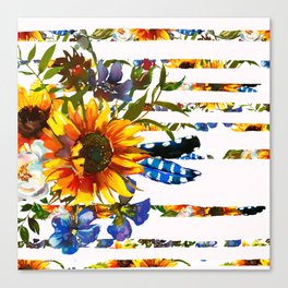 Hand painted yellow orange blue watercolor sunflower pattern Canvas Print