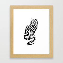 Tribal Cat Design (Lights) Framed Art Print