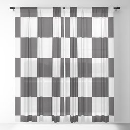 Black and White Checkered Pattern Sheer Curtain