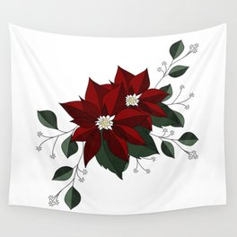 Nochebuena Poinsettia Wall Tapestry