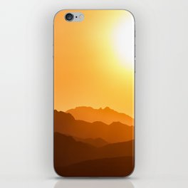 Orange Monochromatic Mountain Landscape Parallax Silhouette Yellow Orange Sunset Hues iPhone Skin