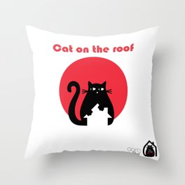 """""""Cat on the roof"""" by Qora and Shaï Throw Pillow"""